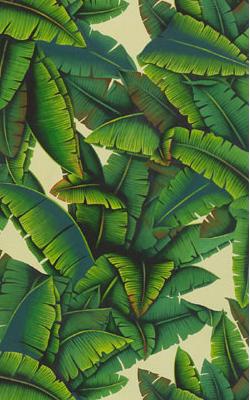 Behang de Gournay Palms design in Gaugin kleuren op dyed paper Palmen behang Luxury By Nature de Gournay dealer verkleind